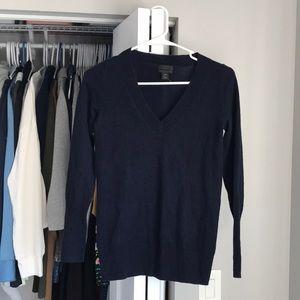 J. Crew Italian Cashmere Navy V-Neck Sweater, NWOT